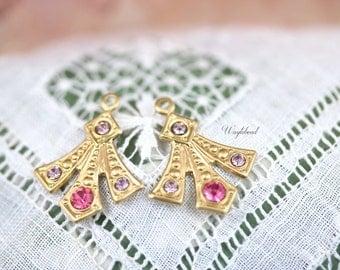 Swarovski Crystal Brass Art Deco Style Earring Dangle Stamping Drops Rhinestone 20x16mm Light Amethyst & Rose Pink - 2 .