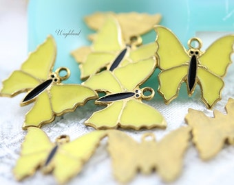 Yellow Vintage Style Butterflies Charms Pendants - 4