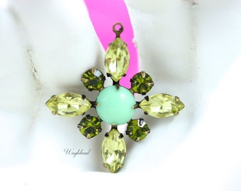 Jonquil Olive Green & Light Green Starburst Pendant Vintage Stones Swarovski Crystal Brass Setting 30mm