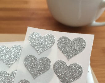 envelope seals - small silver glitter heart stickers