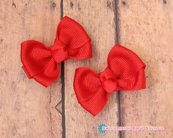 Girls Hair Bows-Red--2 Inched