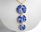 Unique  Hand crafted Delft Blue pedant necklace - Original  Dutch Blue Handpainted porcelain jewelry - Holland - Blue and white china