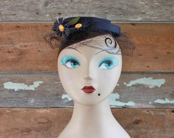 1950s hat / 1950s navy blue & yellow floral veiled fascinator from Bonwit Teller