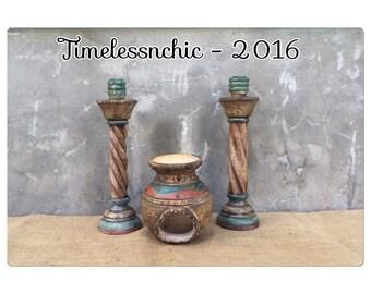 Candle Holder - Candlesticks - Navaho Decor - Aztec Decor - Bohemian Decor - Southwestern Decor - Pottery - Boho Chic