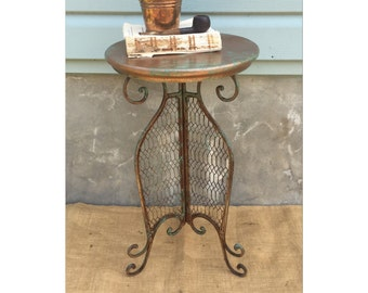 End Table - Side Table - Rustic Table - Patina - Plant Stand - Rustic Bohemian - Farmhouse Chic