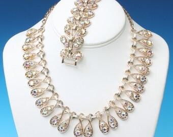 Topaz AB Rhinestone Necklace Bracelet Set Signed ART Vintage