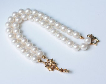 Two Strand Simulated Pearl Bracelet Bow Clasp Avon Vintage Wedding Bridal