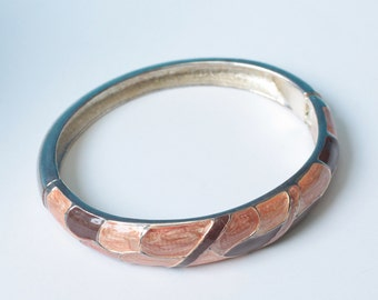 Brown Tan Enamel Bangle Bracelet Hinged Vintage Larger Wrist