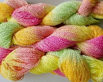 Lark, Hand-dyed Fine Rayon Boucle Yarn, 300 yds - Citrus
