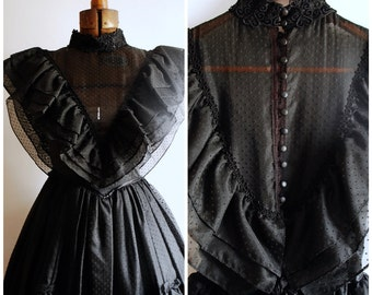 Gorgeous Vintage Black Gothic Southern Belle Gown by Gunne Sax