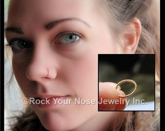 Gold Nose Ring - Twisted - Yellow Gold Filled Nose Ring / Unique Nose Jewelry / Rock Your Nose / CUSTOMIZE