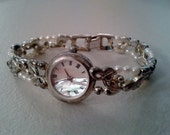 Watch - Sterling Silver with Mother of Pearl Face and Seed Pearls