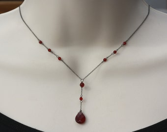 Delicate Garnet Necklace, Birthday gift for Wife, Retro, Vintage Style, Downton Abbey, Goth, Oxidizes Silver, for Sister, for Girlfriend