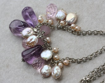 Amethyst stones, Silver, Pearls, Pink Quartz Cluster Necklace, One of a kind Gift, Jewelry Gifts, Substantial Necklace, February Birthstone