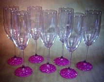 Sparkles and jeweled glass champagne glasses can be disposable or reusable for wedding, party, birthday, shower, personalized to match party