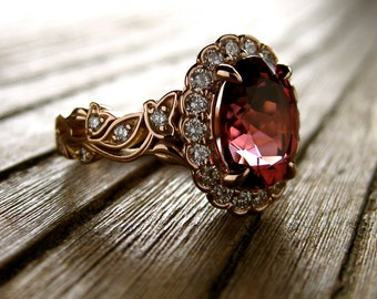 Marsala Red Tourmaline Engagement Ring in 18K Rose Gold with Diamonds in Flower Blossoms and Leafs on Vine Size 5