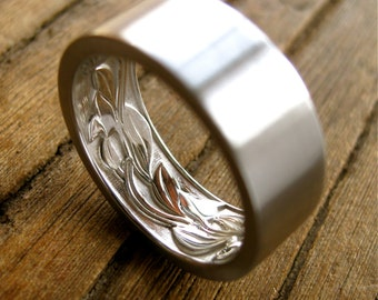 Inverted Vine Wedding Band in 14K White Gold with Flowers & Leafs and Matte Finish Size 6