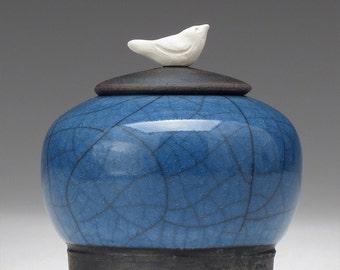 Miniature Jar, tiny jar, blue crackle, Raku, ceramic, Jar with bird,art pottery, home decor,handmade jar, pottery
