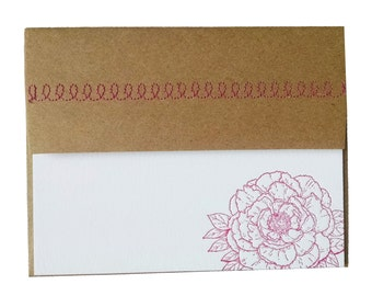 Peony Letterpress Card in Fuchsia with Sewn Envelope
