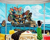 Original Art Print, Ship of Dreams, Butterflies, Ocean, Interior, Seascape, by k Madison Moore