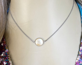 White Pearl Choker Necklace, Floating Pearl, Minimalist Sterling Silver Jewelry