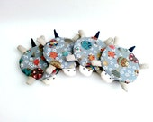 Japanese Fabric Coasters, Turtle Coasters, Drink Coasters, Kawaii Coasters, Coffee Mug Coaster, Mug Cozy, Grey Coaster - Housewarming Gift