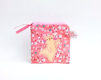 Coin purse, Cat coin purse, Pink flower, Coin pouch, Zipper pouch, Cute Purse, Change purse, Small Purse, Organize - Kitty Dancing