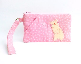 Pink Wristlet Wallet, iPhone Wristlet, Wristlet Pouch, Cell Phone Wallet, Cat Wristlet Bag, Clutch Purse, Cat Wristlet, Zipper Wristlet -Cat