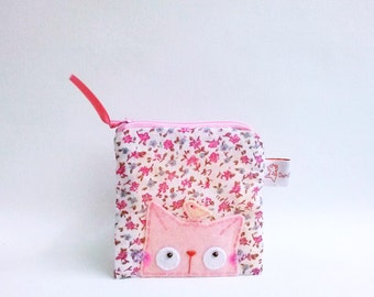 Cute Coin Purse, Cat Purse, Cat Pouch, Child Purse, Cotton Pouch, Floral Pouch Cat, Zipper Pouch Kitty, Pink Cat Pouch, Coin Wallet