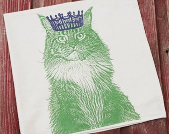 Cat with Crown Tea Towel - Hand Printed Flour Sack Tea Towel, Dish Towel