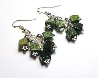 Olive Green Jasper Earrings, Jasper  Earrings, Antique Silver, Surgical Steel, Cluster Earrings