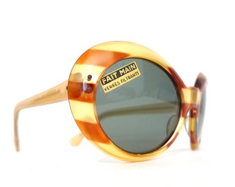 Gold Striped Cat Eye Glasses Stunning Vintage 60s Jackie O Bubble Sunglass Eyeglass Frame Glam Rock. Bowie Mod Fait Main NOS ROund Oval