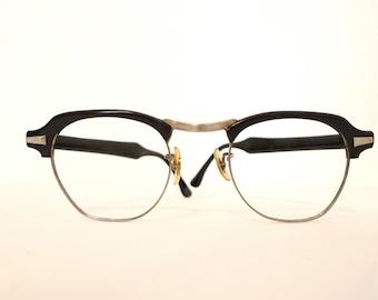 MCM Browline Black & Chrome Cat Eye Glasses Eyeglass Frame Vintage 50s 60s Eyewear Metal Designer Sunglasses Wayfarer CLubmaster Malcolm X