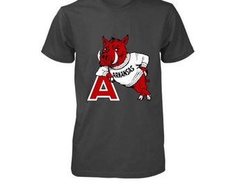 Men's Vintage Inspired Arkansas Razorback Shirt-Hogs-Football-Fall-Gameday-Sports-Collegiate Shirt