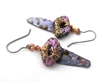 Primeval Treasure - Boho Rustic Copper Purple Enamel and Polymer Clay Earrings, Shimmery and Earthy