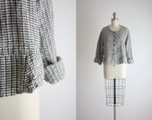 FLAX grid linen blouse