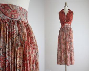 silk print midi skirt