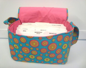 Super Size Coupon Organizer / Budget Organizer Holder Box - Attaches to Your Shopping Cart - Aqua with Circles Ready To Ship