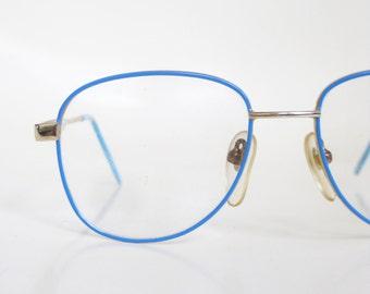 Vintage Blue Wire Rim Eyeglasses Womens Teens Girls 1980s 80s Boxy Minimalist Eighties Pastel Robins Egg Colorful Metallic Gold Golden