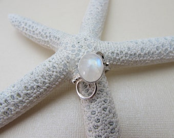 OOAK Sterling Silver and Rainbow Moonstone Swirly Ring
