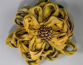 Khaki Sari Silk Flower Brooch, Handmade Sari Silk Khaki Flower Brooch, Gold and Green Sari Silk Flower Brooch, Khaki Green Flower Pin