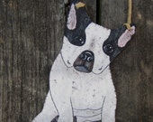 REMOVE SHOES French Bull Dog Sign - Original Hand Painted Wood