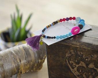 Bracelet fushia rose violet bohème gypsie turquoise