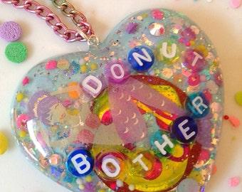 Kawaii Jewelry - Donut Jewelry -Mermaid Jewelry - Pastel Jewelry - Food Jewelry - Resin Jewelry - Resin Heart Pendant - Conversation Heart