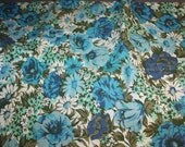 "Vintage 1970's Blue Roses Floral Fabric 36"" Wide"