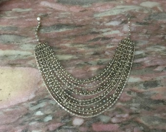 MULTI STRAND NECKLACE 60s Pearl Gold Chain Chunky Choker Style 14 Strands