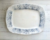 Antique Ironstone Platter . Blue and White Transfer Ware . 1900 . Home Decor . Farmhouse  . Cottage . English Transferware