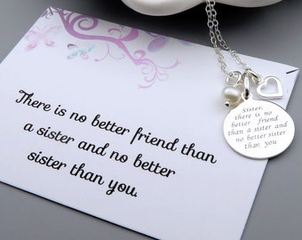 Sisters Necklace, sterling silver, message card, quote necklace, gift for sisters, best friends necklace, gift for her