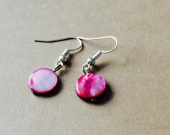 Pink shell earrings