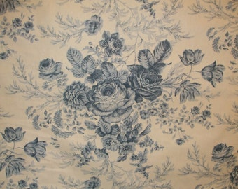Blue and White Cabbage Rose Toile from Kingsway Fabrics, Drapery Fabric, Upholstery Fabric